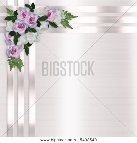 Roses And Satin Ribbons Floral Border