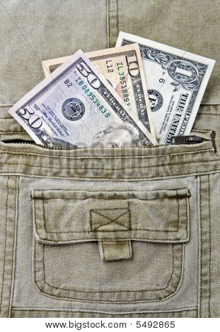 dollar notes in the pocket