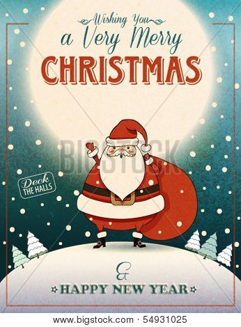 Santa Clause on the Hill - Christmas poster and greeting card with merry Santa Clause waving Christmas greetings from the top of a moonlit hill, carrying sack full of gifts
