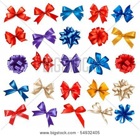 Big set of colorful gift bows with ribbons. Vector.