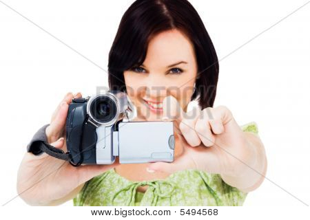 Close-up Of Woman Holding Home Video Camera