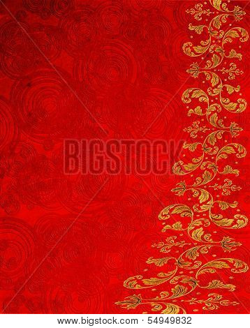 Red Abstract Background With Circles And Golden Floral Decoration