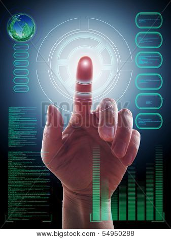 Hand Working With Touch Screen Interface