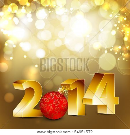 Happy New Year 2014 with golden text and Christmas ball in red color on shiny abstract background.