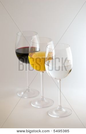 3 Wine Glasses