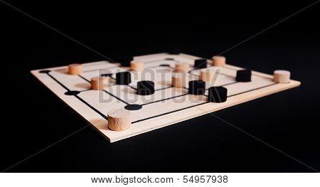 nine men's morris game board over dark background poster