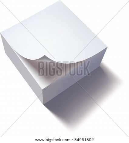 Close up of stack of papers with curl. Vector illustration