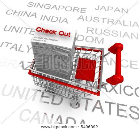 Ecommerce Concept Shopping Cart To Check Out