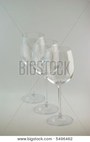 3 Empty Wine Glasses