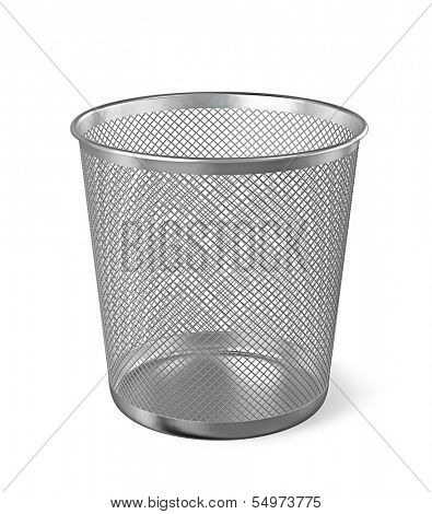 Empty metal trash garbage bin paper bin isolated on white background
