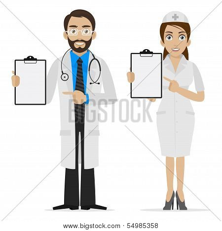 Illustration doctor and nurse specifies on form, format EPS 10 poster