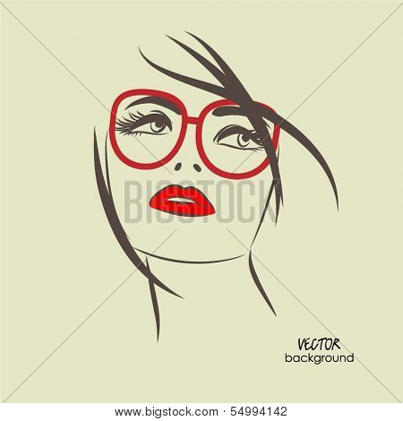 art sketched beautiful girl face from the front with glasses in vector