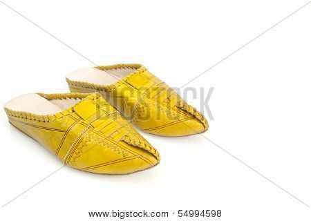 Moroccan girl's handmade yellow slippers