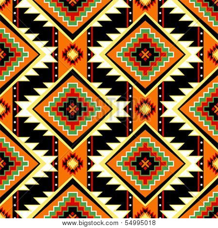 Traditional First nations clothing seamless pattern in warm colors