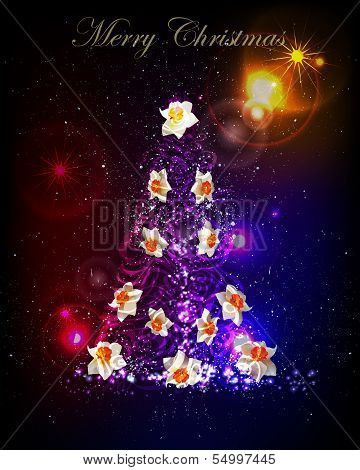 Christmas tree background with neon lighting effect poster