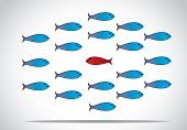 a sharp smart alert happy red fish with open eyes going in the opposite direction of a group of sad blue fishes with closed eyes : Be different or unique concept design vector illustration poster