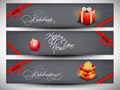 Happy New Year 2014 website header or banner set.  poster