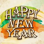 Happy New Year 2014 celebration flyer, banner, poster or invitation with stylish text on grungy colorful background.  poster