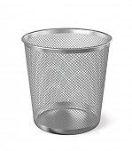 Empty metal trash garbage bin paper bin isolated on white background poster