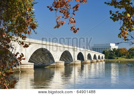Memorial Bridge and Lincoln Memorial  in Autumn - Washington D.C. United States of America