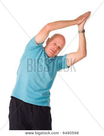 Mature Older Man Doing Yoga