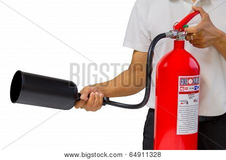 A Man Showing How To Use Fire Extinguisher Isolated Over White Background