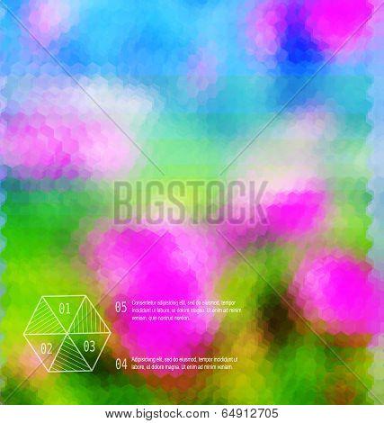 Blurred  Hexagon Mosaic Flower  Template