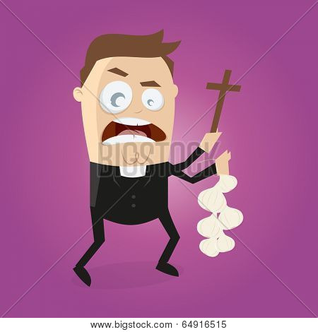 funny cartoon priest is doing exorcism