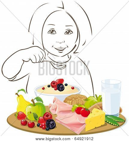 Healthy Eating Child - Illustration