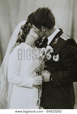 LENINGRAD (now St. Petersburg), RUSSIA - CIRCA 1970-th: Antique photo shows a wedding.