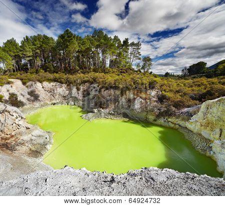 Devil's Bath pool in Waiotapu Thermal Reserve, Rotorua, New Zealand