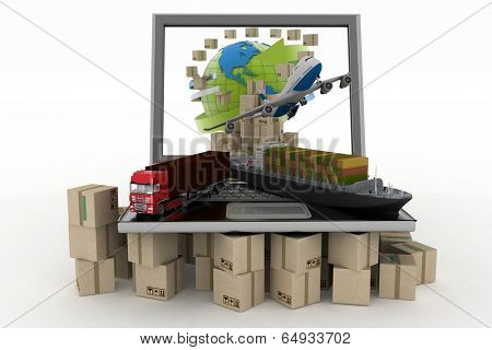 Cardboard boxes around globe on laptop screen, cargo ship, truck and plane. Concept of online goods orders worldwide