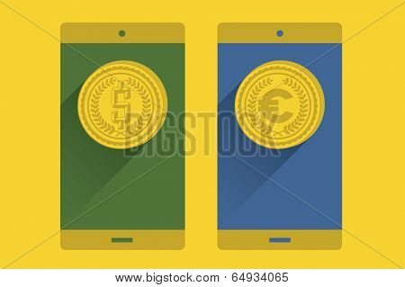 Coin in a mobile screen