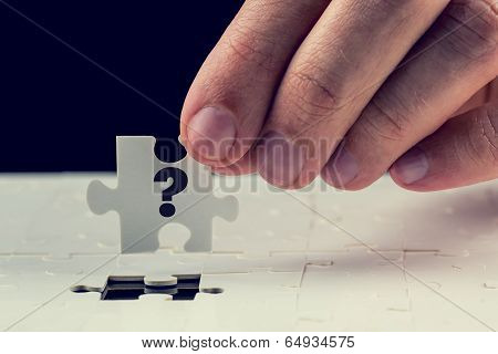 Final Puzzle Piece With A Question Mark