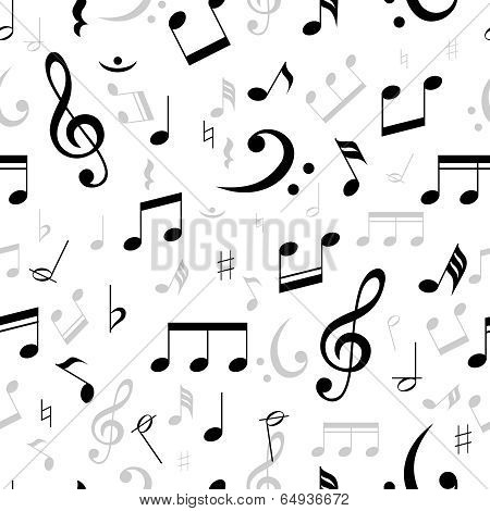 Music notes seamless pattern