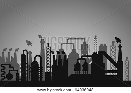 Industrial factory background with a greyscale skyline silhouette of storage tanks  chimneys emitting flames and interconnected pipes depicting a refinery  processing plant or factory poster
