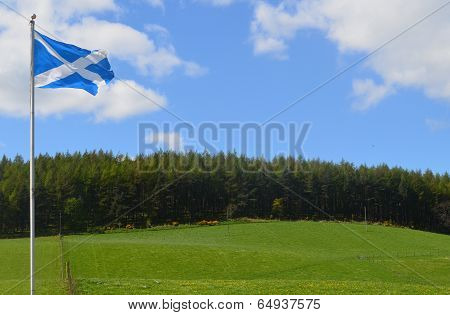 Scottish Flag Over A Green Hill