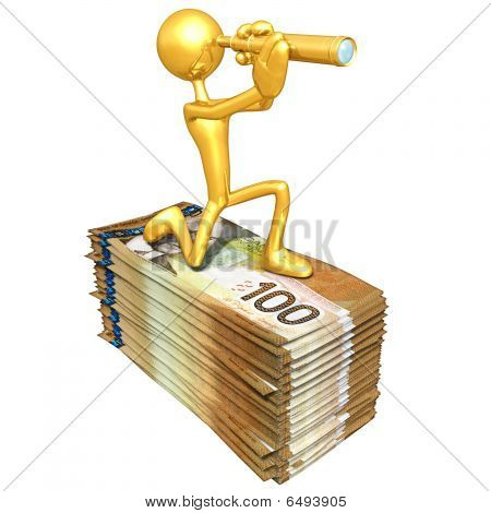 Gold Guy Looking Through Telescope Atop Money