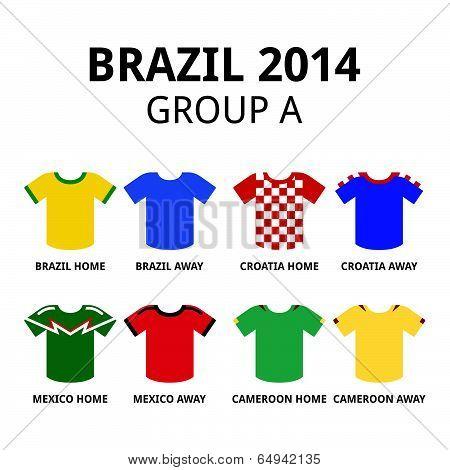 Brazil 2014 - group A teams football jerseys