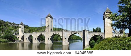 The historic XIV century Pont Valentre fortified bridgen crossing the Lot River to the west of Cahors in France. poster