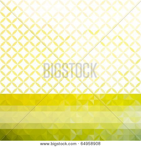Green and yellow minimalistic background with bright stripe and geometric floral ornament. Eps10 poster