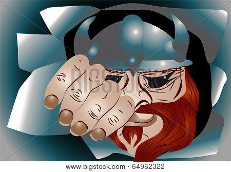 viking with a horned helmet. 10 EPS poster