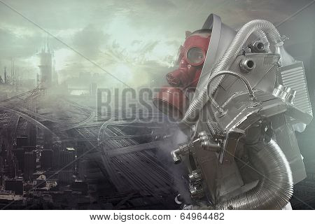 Ecological disaster, gas mask man lamenting