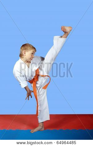 High kick Yoko-geri boy is beat in karategi