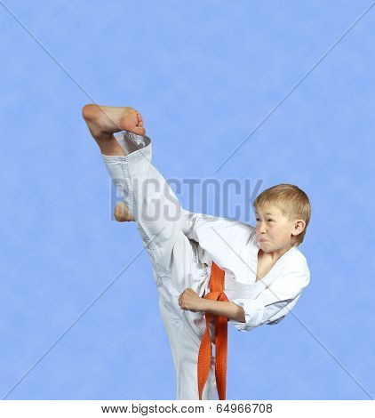 The studious athlete is training kick yoko-geri on a light background