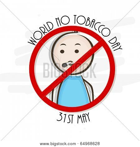 World No Tobacco Day poster, banner or flyer design with illustration of a young man on grey background.