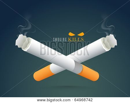 Poster, banner or flyer design with burning cigarette on green background for World No Tobacco Day.