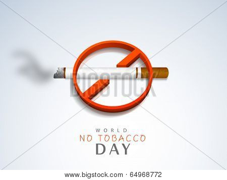 Stylish Anti Smoking sticker, tag or label design with cigarette on grey background for World No Smoking Day.