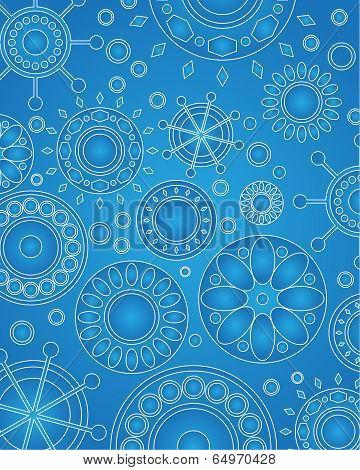 Vector Medallion Design Blue