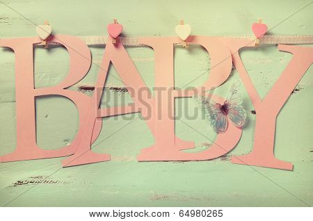 Retro Filter Pink Baby Girl Nursery Baby Letters Bunting On Vintage Aqua Blue Wood